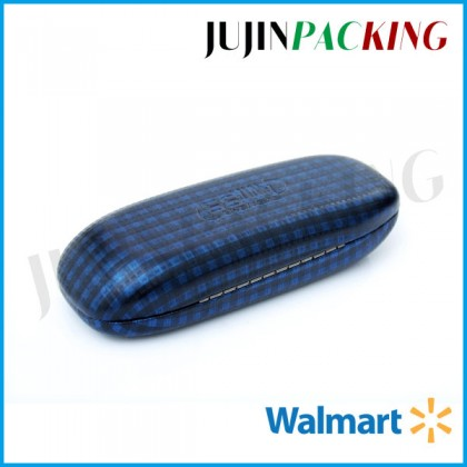 tartan leather flat metal hard glasses case