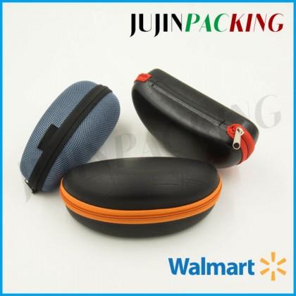 Black Leather yellow red zipper eva sunglass case