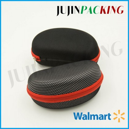 Clamshell sunglass case black mesh fabric covered