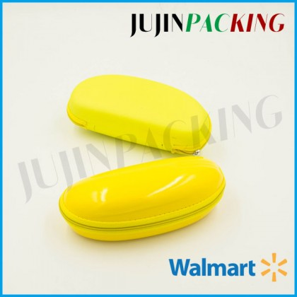 Yellow PU surface durable sunglass case
